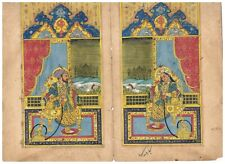 Pair Of Indian Painting Miniature Portrait Of Mughal King And Queen On Paper