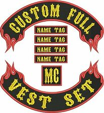 "13"" FLAMING FULL VEST SET Custom MC Bikers Embroidered Patches"