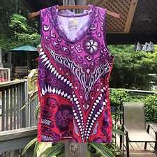 YMX by YELLOWMAN Women M Purple Graphic V-Neck Athletic Cycling Yoga Tank Top