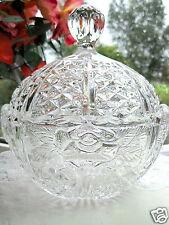 Glass Bowl Rose Motif Dressing Table Lidded Oval Lidded Bonbon Bowl