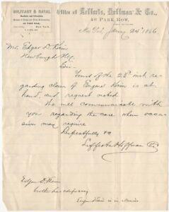 1866 Military & Naval Bank Letterts Hoffman & Co. New York Financial Letterhead