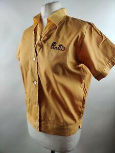 Vintage 90s Women Shirt Blouse Top Yellow Vneck Utility Workwear Uniform 12 M