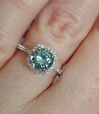 1.20 ct Blue moissanite Halo Engagement Ring 925 Sterling Silver Wedding Ring b1