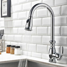 Traditional Gooseneck 1-Hole Pull-out Spray Kitchen Faucet with Single Handle