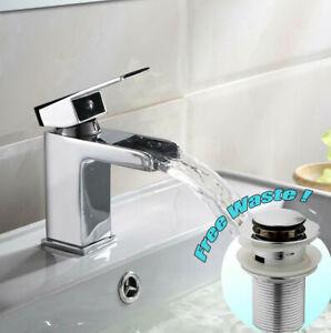 Waterfall Basin Mixer Tap Chrome Modern Design Bathroom Sink Faucet & Waste Sets