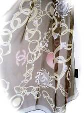 CHANEL Beautiful Brown Silk 100% Scarf Chain Ring CC Logo  made in France New