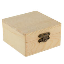 Square Shape Unfinished Wooden Box Jewelry Gift Box Case Lock DIY Craft
