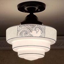 839b Vintage antique arT Deco Glass Shade Ceiling Light Fixture hall entry bath