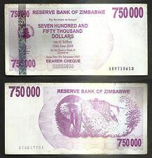 "2008 World Bank Currency of Zimbabwe ""750000 Dollar"" - P# - 52"