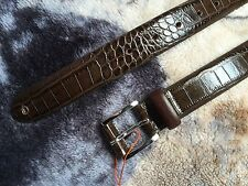 "Ben Sherman Leather Crocodile Belt, Chocolate, Size S (30""-34"")"