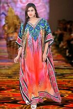 New printed kaftan Designer Silk Crystal Emblished long Dress18