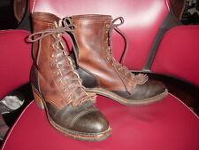 Vtg Mens Santa Fe Boot Co 2 Tone Leather Kiltie Packer Boots Men's sz 9.5