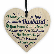 Husband Gifts From Wife Christmas Birthday Anniversary Gift Wooden Heart Plaque