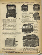 "1892 PAPER AD Music Musical Box 6 Airs 3"" Cylinder Casket Concertina Accordion"