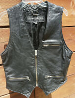 Hurrican Collection Leather VEST Front Zip Black Sleeveless Mens Fully Lined N11