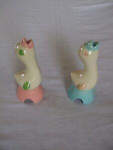 Two Vintage Shawnee Pie Birds Pillsbury 1940's Pink/Green and Blue/Pink