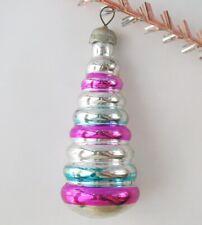 PYRAMID Glass Vintage Decor XMAS_CHRISTMAS Pink Silver Ornament Russian USSR