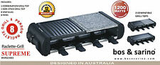 BOS & SARINO Party Raclette Grill Japanese Teppanyaki BBQ Hibachi 3 Cook Tops
