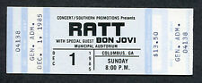 1985 Early Bon Jovi Ratt unused full concert ticket Columbus GA 7800 Fahrenheit