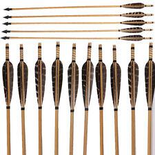 6/12Pcs Archery Arrows Broadhead Turkey Feathers Handmade Wooden Outdoor Hunting