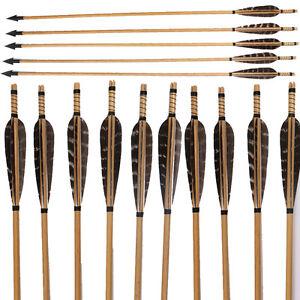 6/12Pcs Handmade Archery Wooden Arrows with Hunting Arrowheads & Turkey Feathers