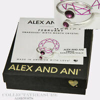 Authentic Alex and Ani February Shiny Silver Birth Month Ring