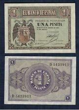ESPAÑA año 1938. 1 peseta FEBRERO serie D. Nº 5423911. Escudo de Franco. RARA.