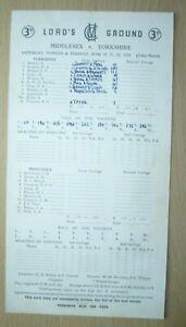 1954 Cricket Scorecards MIDDLESEX v SURREY  Lord's Ground, August 3 day Match