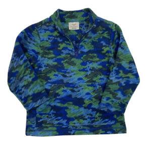 Hanna Andersson Boys Fleece Pullover 5-6 Long Sleeve Green Blue Quarter Zip