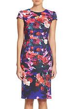 NEW    Betsey Johnson Floral Print Stretch Midi Dress Size14