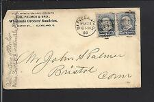 CLEVELAND,OHIO 1890 #212 PAIR COVER WITH ADVT. PALMER & BRO. GROCERS' SUNDRIES.