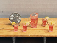 Vintage Artisan Raspberry Lemonade Set W/ Ice & Garnish Dollhouse Miniature 1:12