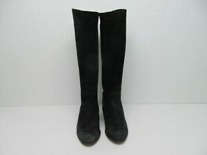 J.Crew Black Suede Leather Pull On Knee High Boots Size Women's 8B Made in Italy