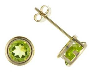 9CT GOLD REAL PERIDOT STUD EARRINGS 5MM ROUND OVAL GREEN BIRTHSTONE AUGUST BOXED