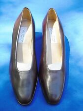 Women's 8 M~BROWN LEATHER HEELS~Calico~New~Brazil