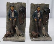 "Western Cowboy Outlaw Dog Decoration 8"" Tall Bookends Pair 3.12lbs Each"