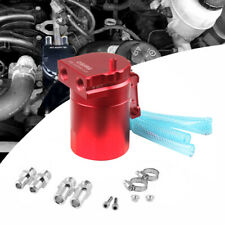 Red Aluminum Baffled Oil Catch Can Tank Reservoir Breather With Fittings J6I4