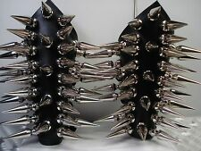 LEATHER GAUNTLETS GIANT SPIKED .BLACK METAL (MDLG0044)..... CRAFT'S