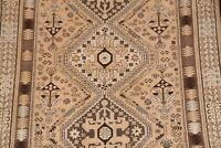 Antique Geometric Tribal Muted 10 ft Runner Abadeh Distressed Rug Hand-made 4x10