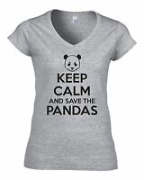 KEEP CALM AND SAVE THE PANDAS Fitted Ladies V-Neck Funny T-Shirt GIFT JOKE FUNNY
