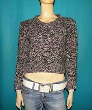 Sweater V-Neck Max Mara Wool Streaked Black WHITE SIZE S Or 36 Fr
