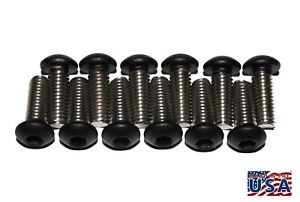 (Qty (12) M6-1.0 x 20Powder Coated Flat Black Stainless Steel Button Head Bolts