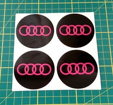 4x Alloy Wheel stickers pink and black 55 mm fit audi center badge trim cap hub