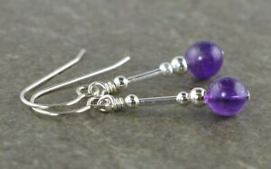 Purple Amethyst Gemstone & Sterling Silver Drop Earrings with Gift Box