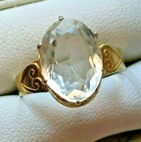 VTG Ring Silver 875 USSR Natural Rock Crystal Star Russian Soviet gilt XMAS