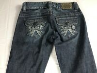 GUESS Jeans Daredevil Boot Womens 25/26 Denim Pants 30 x 33 Actual Dark Bling