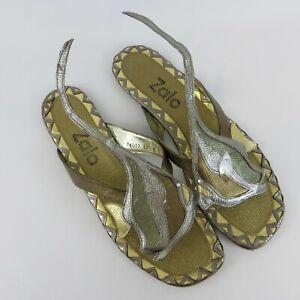 Vtg ZALO Ladies Angel Fish Flats Size 12 Spain Leather Sandals Shoes Metallic
