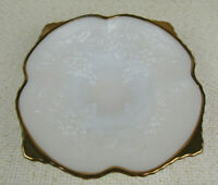 Vintage Anchor Hocking White Milk Glass Dish with Grapes & Leaves, Gold Edge