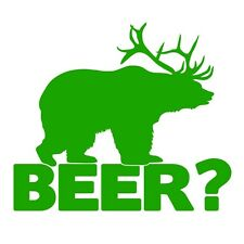 Bear+deer = Cerveza Funny Caza Broma coche van Ventana Vinilo Autoadhesiva de hierba verde