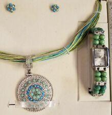 Cote d' Azur ~ 3 Piece Jewelry Set ~ Watch ~ Earrings ~ Necklace Blue Green NIB